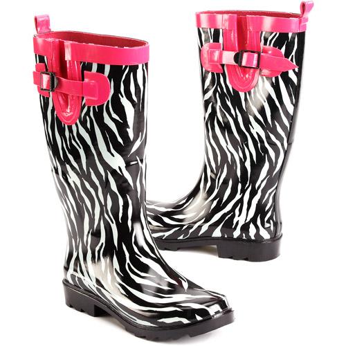 Women's Pop Zebra Rain Boots - Walmart.com