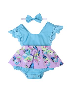 Newborn Baby Girls Clothes Sleeveless Lace Romper Dress Jumpsuit+Headband Outfit Purple 0-6 Months