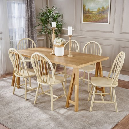 - Amy Farmhouse Cottage 7 Piece Faux Wood Dining Set with Rubberwood Chairs, Natural Oak and Antique White