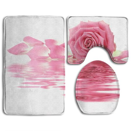 XDDJA Pink Rose Petals 3 Piece Bathroom Rugs Set Bath Rug Contour Mat and Toilet Lid Cover - image 1 of 2