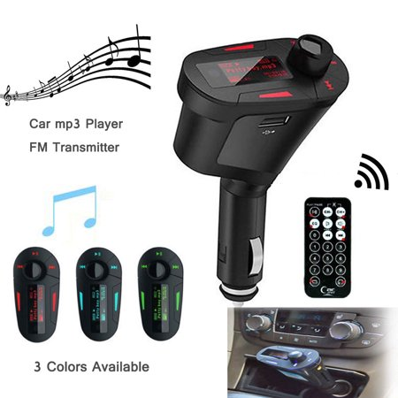 EinCar FM Transmitter Modulator Wireless Radio Adapter Car Kit Play Music Remote Control + USB Cigarette Car Charger with MP3 Player SD Red (Iphone Car Music Player)