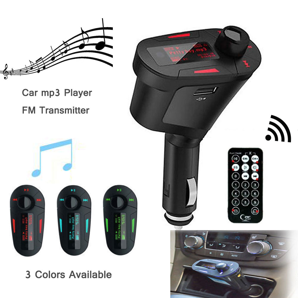 EinCar FM Transmitter Modulator Wireless Radio Adapter Car Kit Play Music Remote Control + USB Cigarette Car Charger with MP3 Player SD Red