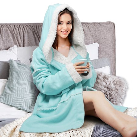Plush Hooded Robe for Women Soft Warm Short Fleece Bathrobe, 4 Color-Selection by Catalonia (Jedi Robes For Sale)