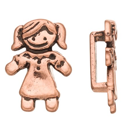 4pcs Girl In Dress Licorice Charms Fits Flat 10x2mm Licorice Leather Cord Antique Copper Plated 18x25mm