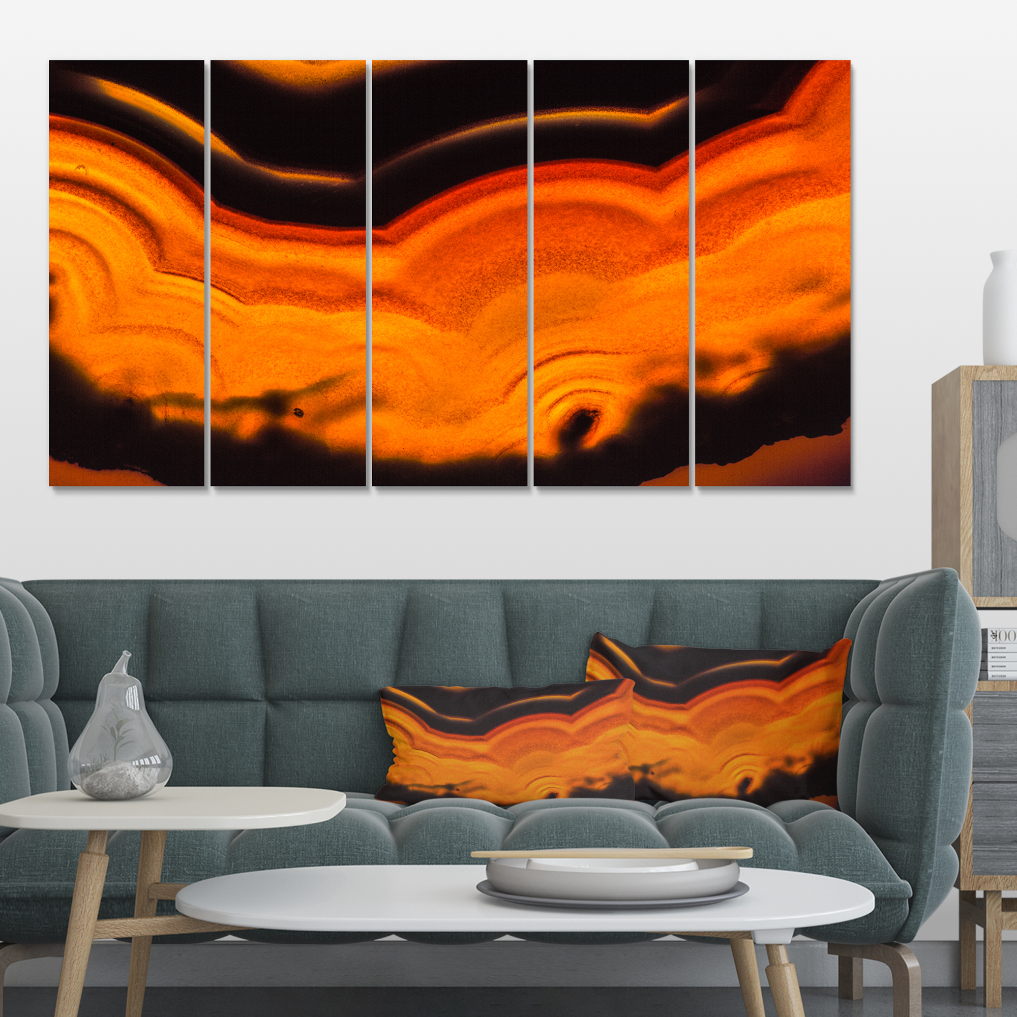 Agate Macro Orange - Abstract Canvas Wall Art Print - image 4 de 4