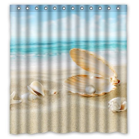 GreenDecor Summer Sea Beach Seashell Art Waterproof Shower Curtain Set with Hooks Bathroom Accessories Size 66x72 inches (Seashell Shower Curtain)