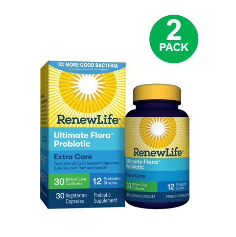 Renew Life Adult Probiotic - Ultimate Flora Probiotic Extra Care, Probiotic Supplement - 30 billion - 30 Vegetable Capsules