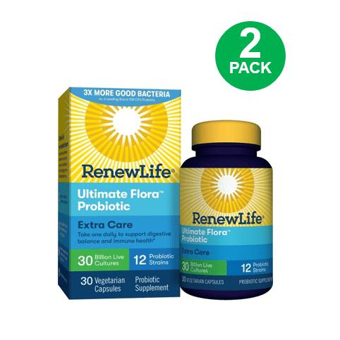 Renew Life Adult Probiotic - Ultimate Flora Probiotic Extra Care, Probiotic Supplement - 30 billion - 30 Vegetable Capsules
