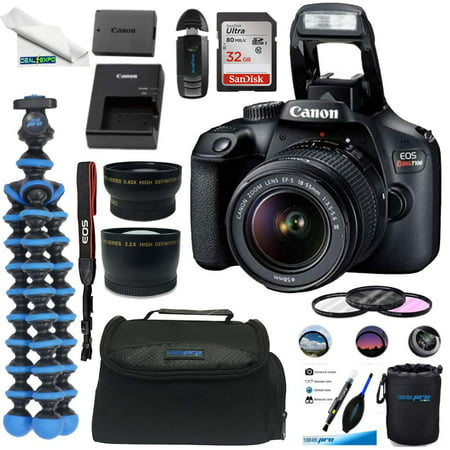Canon EOS Rebel T100 Digital SLR Camera with 18-55mm Lens Kit + +32GB SD Card+ Deal-expo Essential Bundle