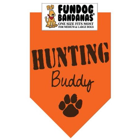 Fun Dog Bandana   Hunting Buddy   One Size Fits Most For Med To Lg Dogs  Hunter Orange Pet Scarf
