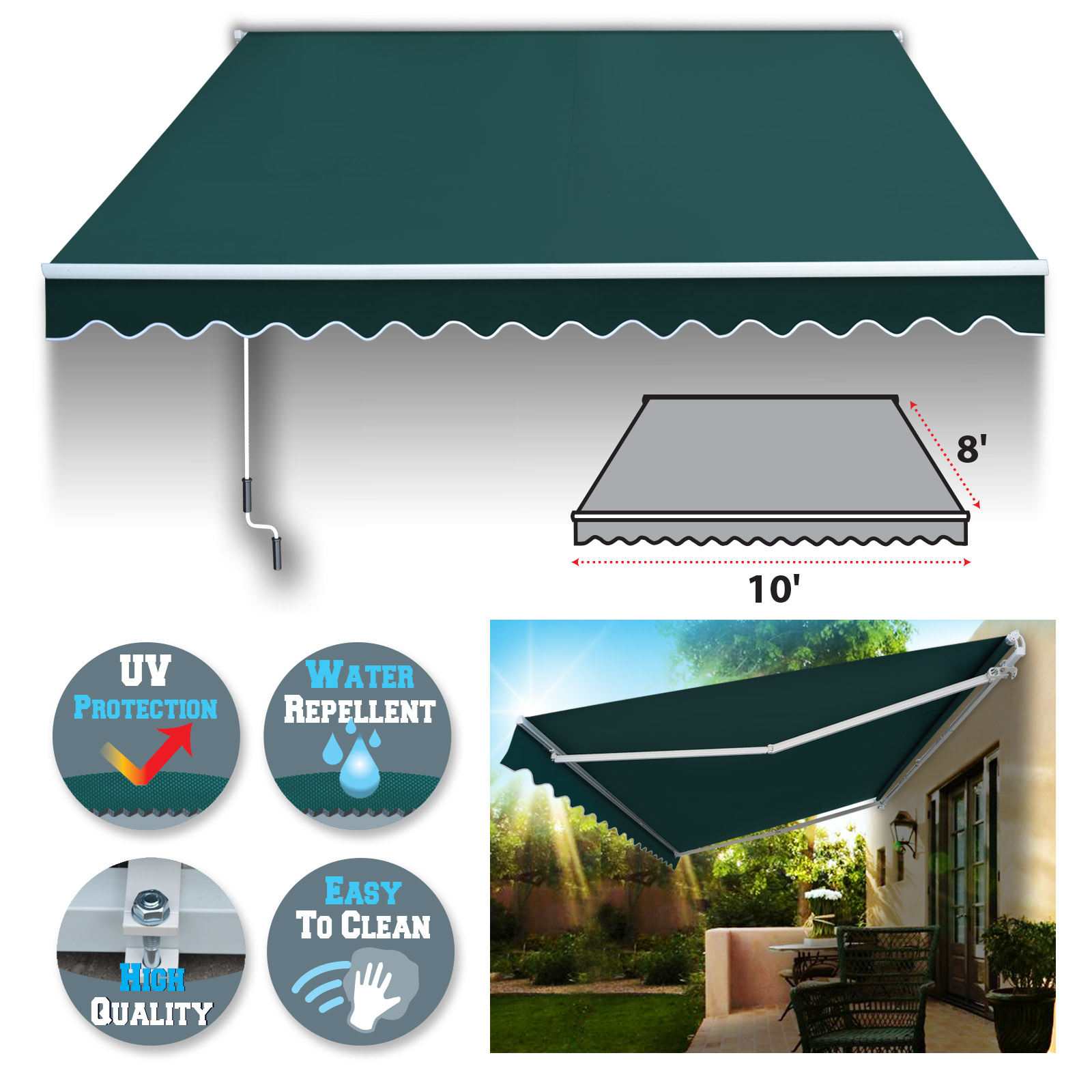 Sunrise 10' x 8' Manual Retractable Patio Deck Awning Cover, Canopy Sunshade (Beige)