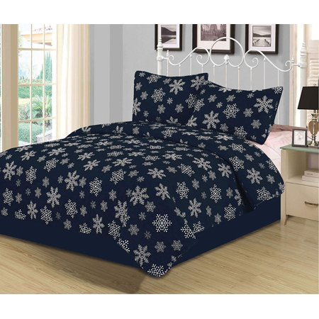 Twin Snowflake Quilt Bedding Set Winter Holiday Christmas, Navy Blue White ()