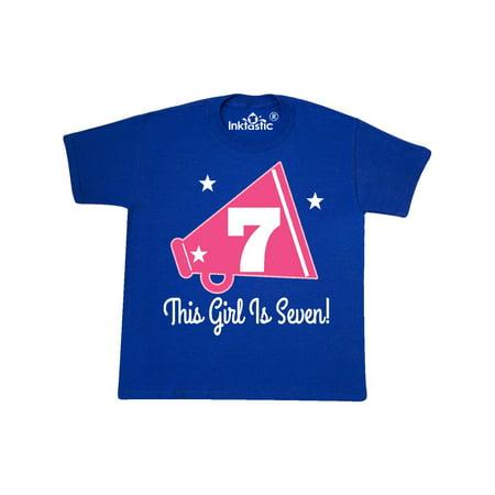 7th Birthday Girls Cheerleading 7 Year Old Youth T-Shirt - Toddler Cheerleading Uniforms