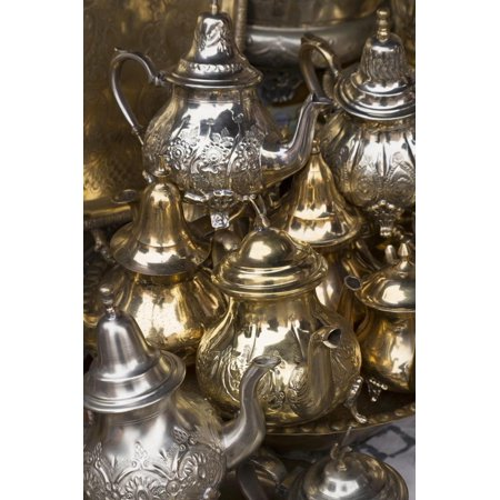 African Africa Art - Traditional Moroccan Teapots for Sale in the Souks, Marrakech, Morocco, North Africa, Africa Print Wall Art By Martin Child