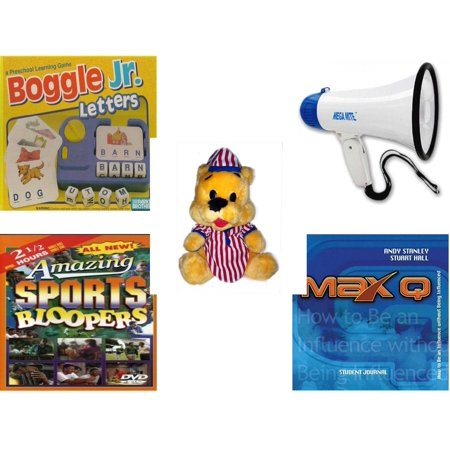 Children's Gift Bundle [5 Piece] -  Boggle Jr. Letters; a Preschool Learning  - Mega-Sound Megaphone  - Striped PJ's Nightime Bear  11