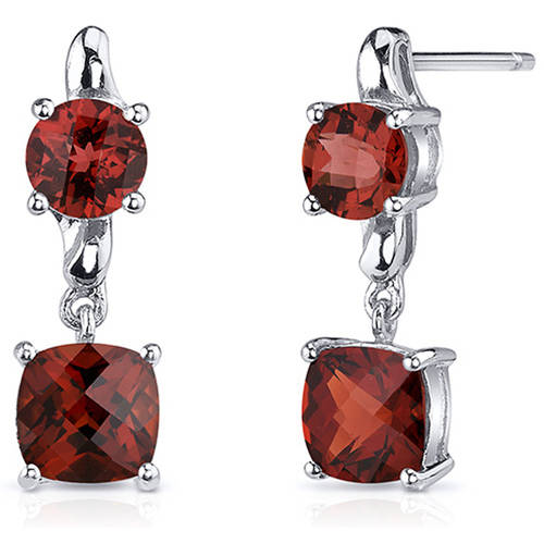 Oravo 3.50 Carat T.G.W. Cushion-Cut Garnet Rhodium over Sterling Silver Drop Earrings