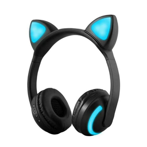 Zw 19 Wireless Bluetooth Headset Glowing Cat Ear Earphones Stereo Music Headphones Hands Free W Mic Colorful Light Adjustable Headband For Desktop Laptop Tablet Pc Smartphone Walmart Com Walmart Com