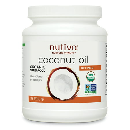 Nutiva Organic, Steam Refined Coconut Oil from non-GMO, Sustainably Farmed Coconuts, 54 Fluid Ounces ()