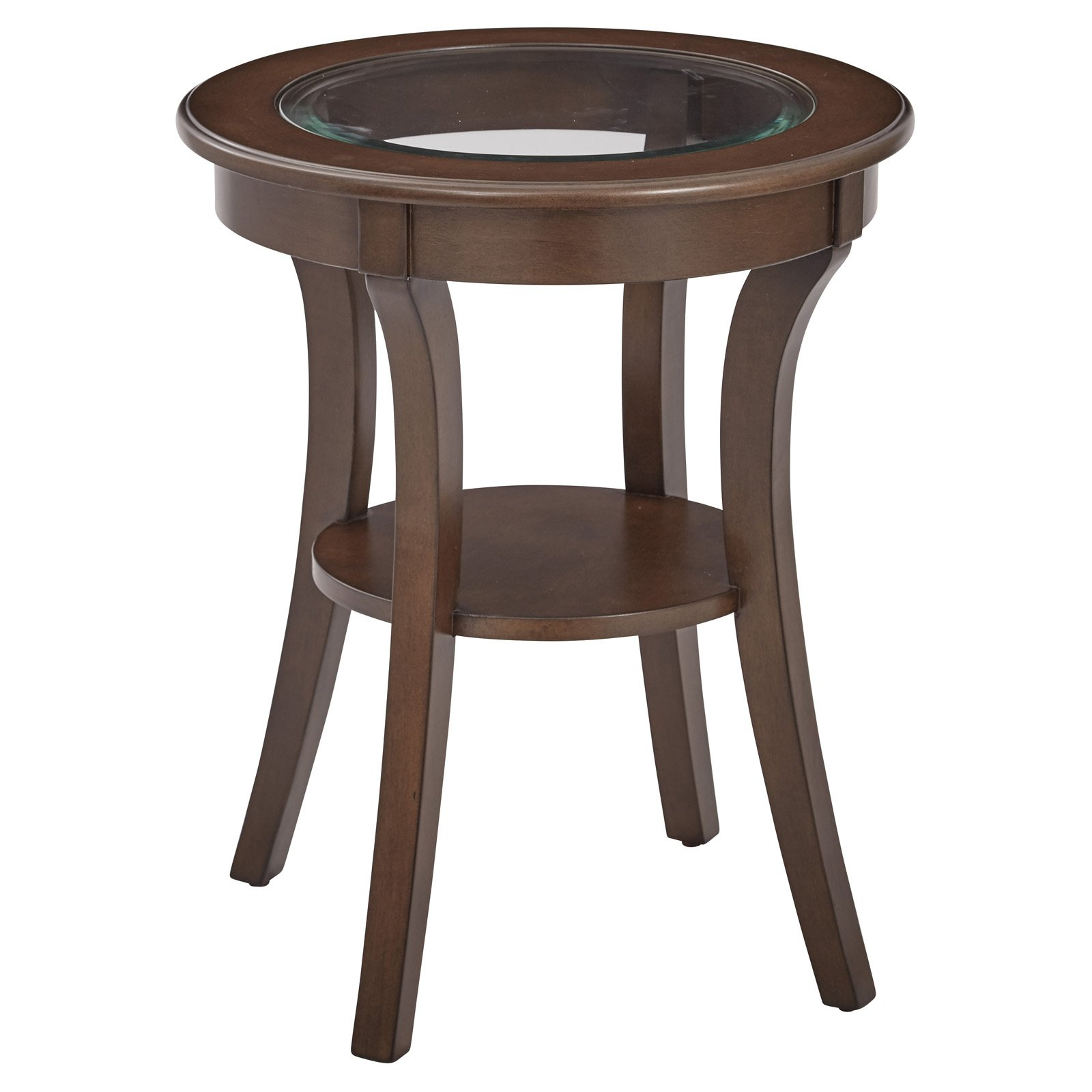 OSP Designs, Harper Round Accent Table with Glass top, Ships Fully Assembled by Office Star Products