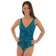 Miraclesuit Womens 1 Piece Blue and Green Bathing Suit Slimming Swimwear Sizes: 10