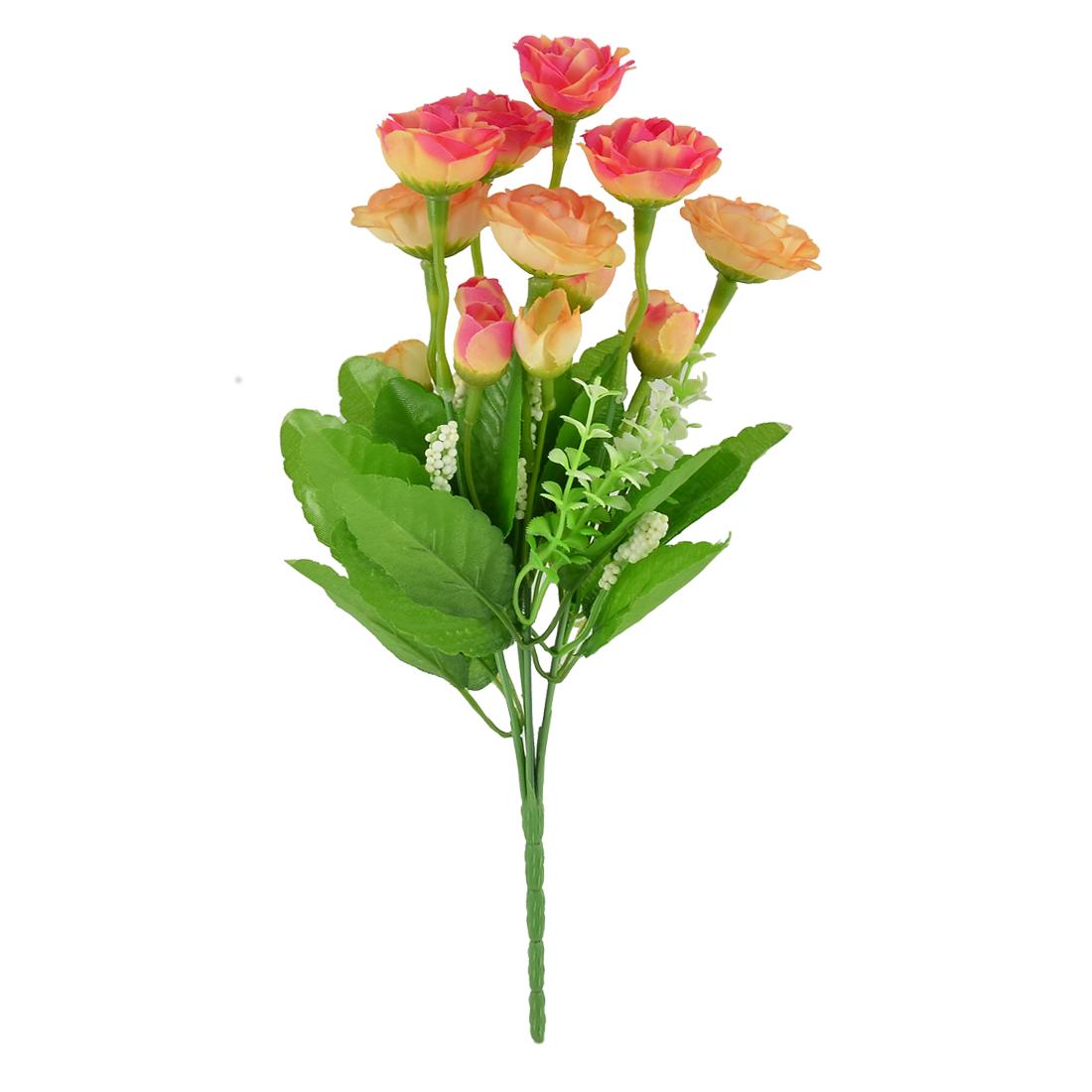 Home Wedding Party Decor Rose Buds Artificial Flower Bouquet Orange Red