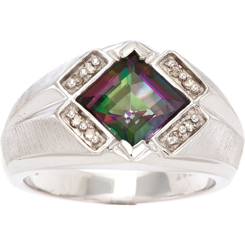 Men's 3.25 Carat T.G.W. Mystic Fire Topaz and .1 Carat T.W. Diamond Ring in Sterling Silver