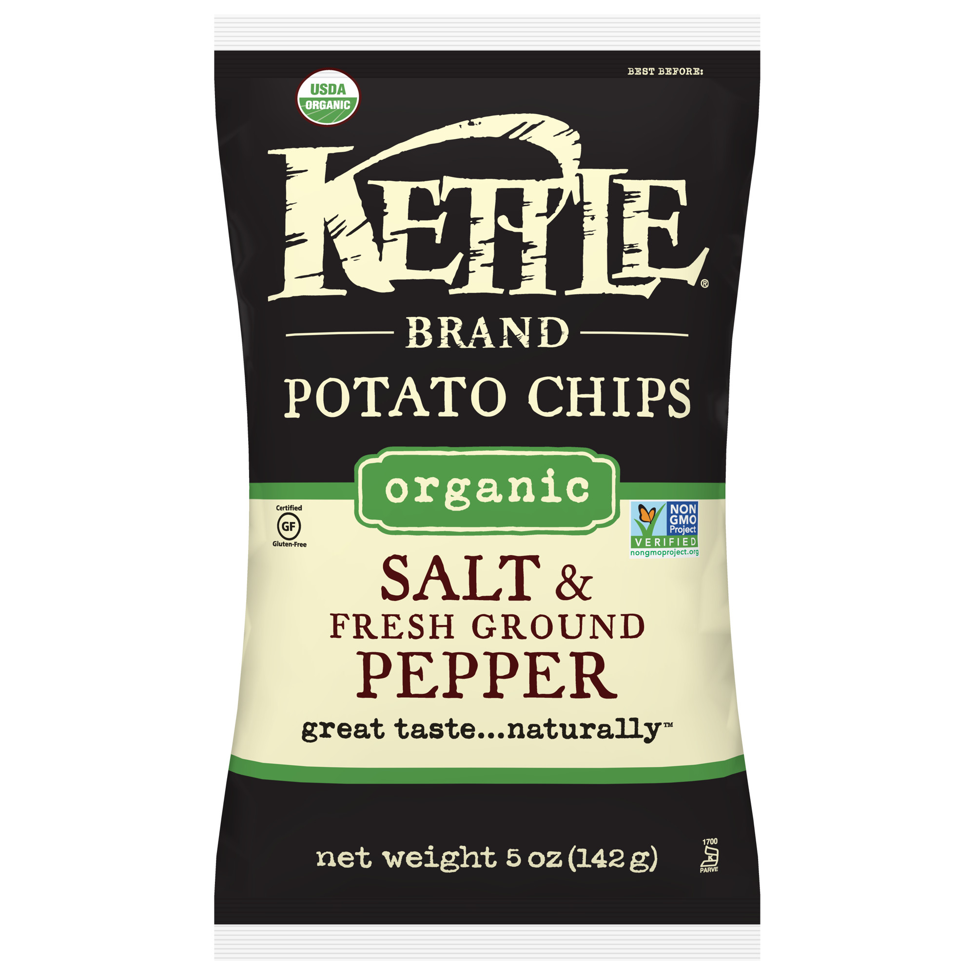 Kettle Brand Potato Chips, Salt and Fresh Ground Pepper, 5 Ounce