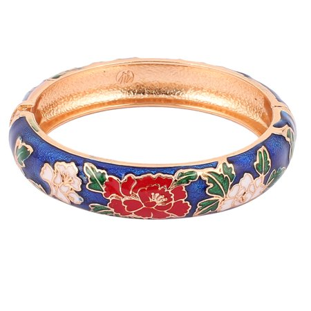 Unique Bargains Women Floral Pattern Wide Openable Gold Plated Bracelet Bangle Navy Blue