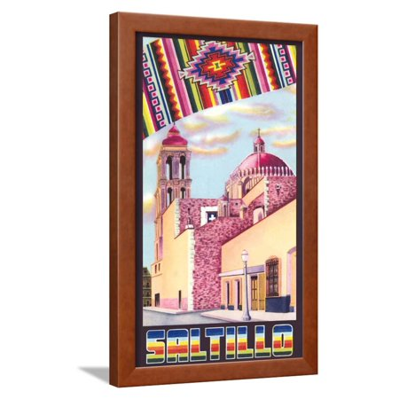 Poster for Saltillo, Mexico, Old Church Framed Print Wall Art