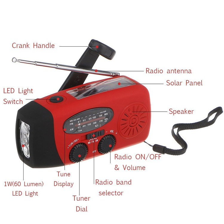 Emergency Solar Hand Crank Radio, Portable Dynamo AM/FM/WB Weather Radio LED Flashlight Smart Phone with Cables, Red