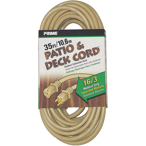 Prime Wire 35-Foot 16/3 SJTW Patio and Deck Extension Cord, Beige