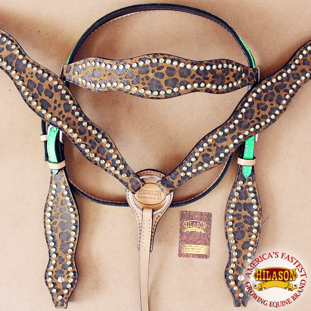 HILASON AMERICAN LEATHER HORSE HEADSTALL BREAST COLLAR LIME CHEETAH CRYSTALS