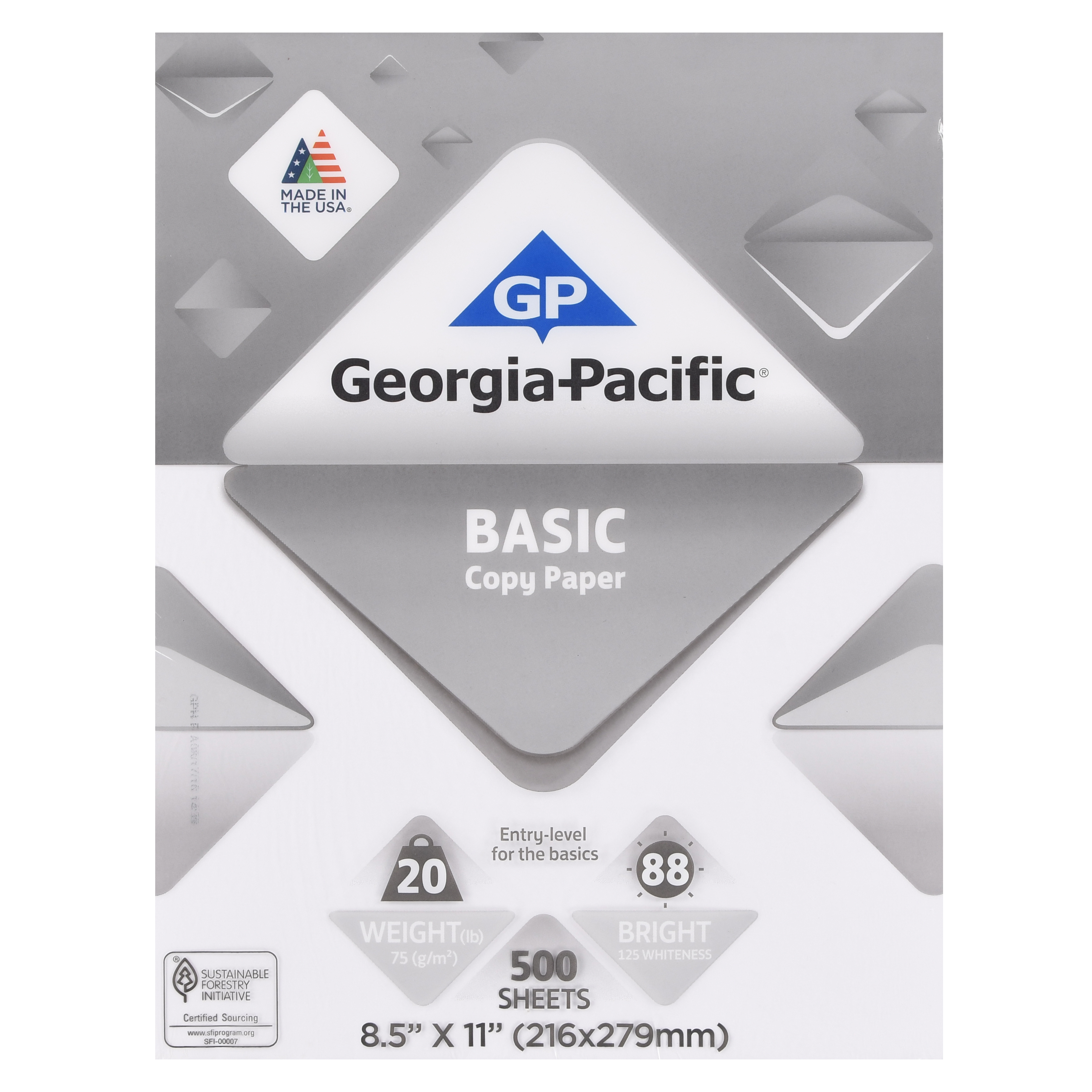 "Georgia-Pacific Basic Copy Paper, 8.5"" x 11"", 20 lb, 88 Brightness, 500 Sheets"