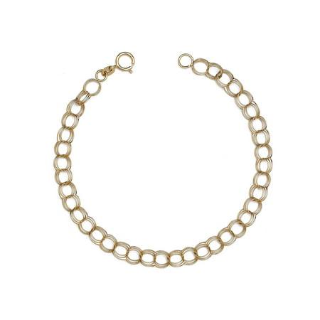 "Floreo 10k Fine Gold Lightweight Hollow Triple Link Charm Bracelet for Women and Girls (0.2"")"