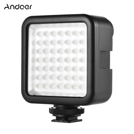 Andoer W49 Mini Interlock Camera LED Panel Light Dimmable Camcorder Video Lighting With Shoe Mount Adapter for Canon Nikon Sony A7 DSLR (Led Light For Video)