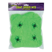 Club Pack of 12 Flame Resistant Giant Green Halloween Spider Web with Spiders