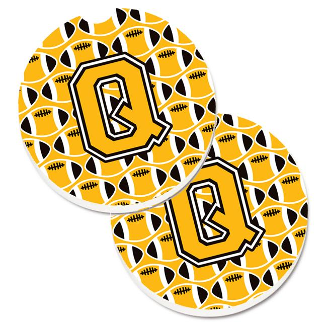 Carolines Treasures CJ1080-QCARC Letter Q Football Black with Old Gold & White Set of 2 Cup Holder Car Coaster - image 1 of 1