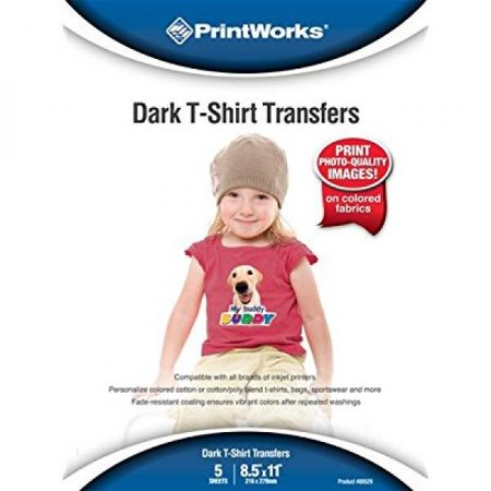 Printworks Dark T-Shirt Transfers for Inkjet Printers, For Use on Dark and Light/White Fabrics, Photo Quality Prints, 5 Sheets, 8 ½†x 11†(00529)