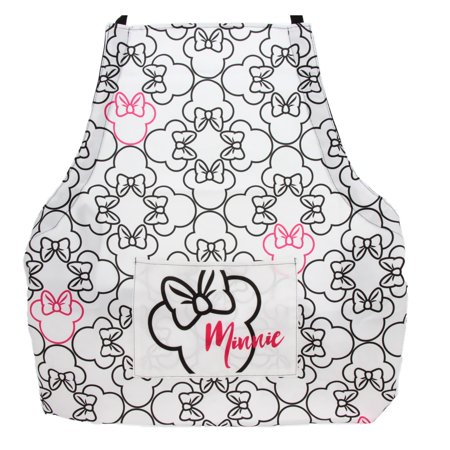 Disney Minnie Mouse Apron - Stylish Design in White, Pink and Black With Minnie Icon (White And Black Apron)