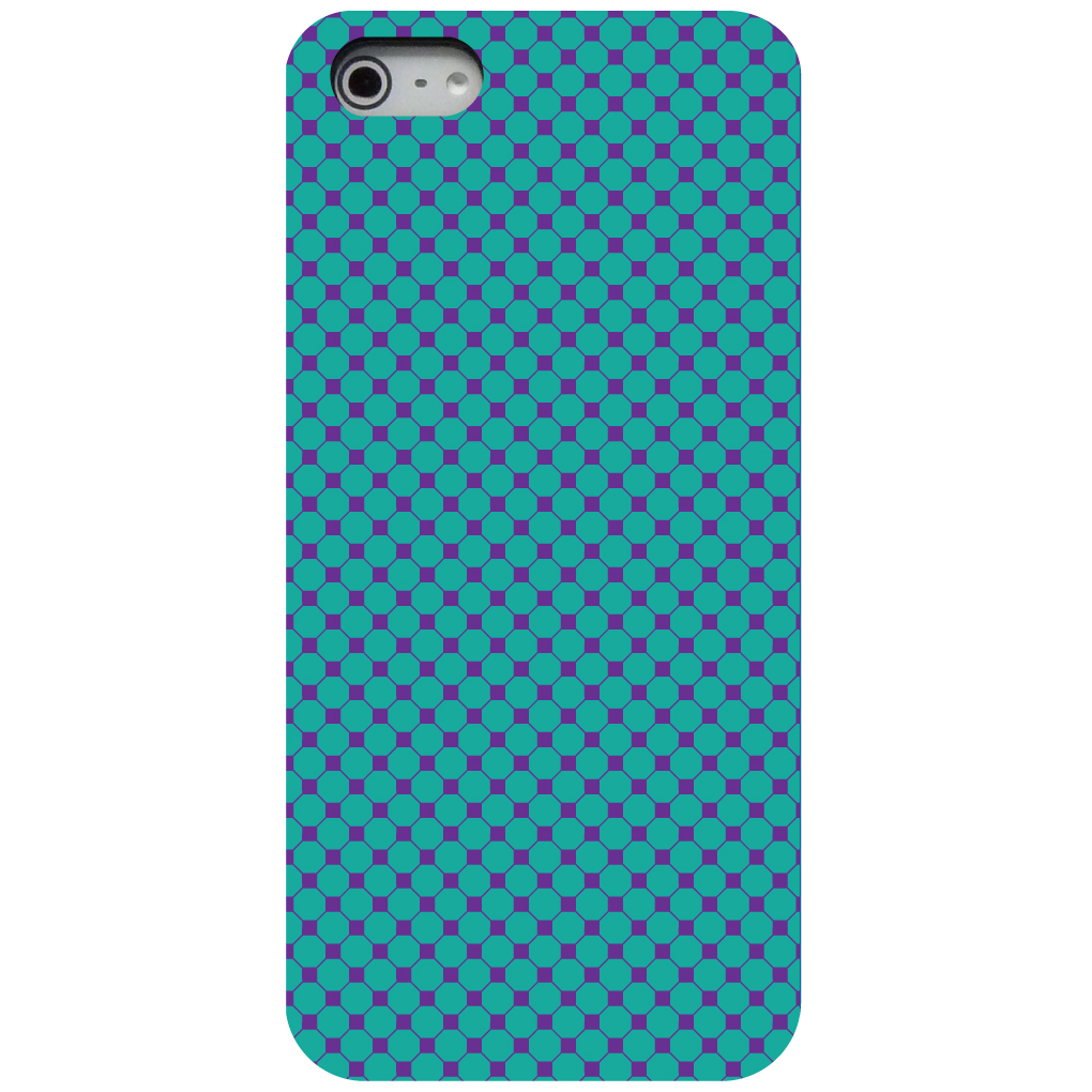 CUSTOM Black Hard Plastic Snap-On Case for Apple iPhone 5 / 5S / SE - Teal Purple Checkered Pattern