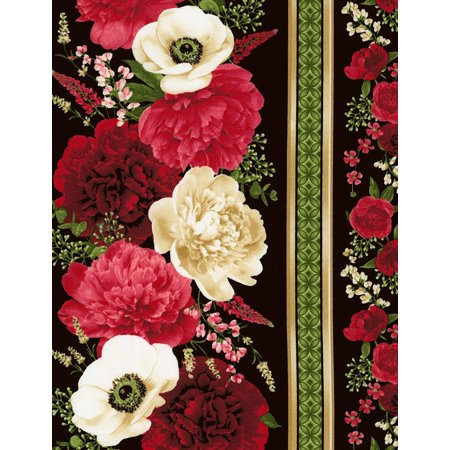 Carina Floral Border Stripe Cotton Fabric by Timeless Treasures