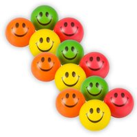 "Colorful Smiley Face Stress Balls - Pack of 12 2.5"" Smile Squeeze Balls for Stress Relief, Stocking Stuffers, Educational Game, Room Decoration"
