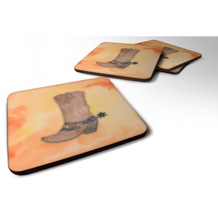 Set of 4 Cowboy Boot Watercolor Foam Coasters Set of 4 BB7371FC