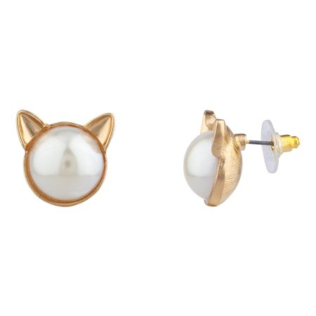 Faux Pearl Necklace Earrings (Lux Accessories Gold Tone Faux Pearl Stone Cat Ear Animal Novelty Stud Earrings )