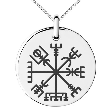 Stainless Steel Vegvisir Viking Compass Engraved Small Medallion Circle Charm Pendant Necklace