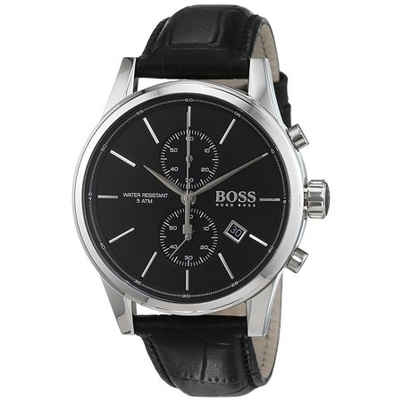 Hugo Boss Men S Jet Chronograph Black Leather Watch
