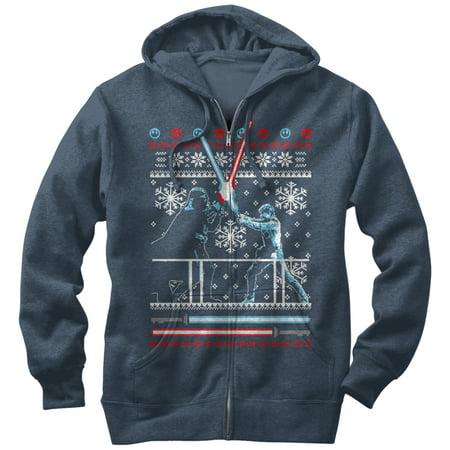 Star Wars Men's Ugly Christmas Sweater Duel Zip Up Hoodie ()