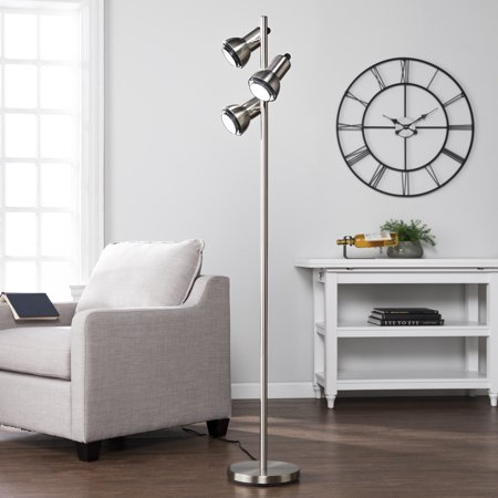 Southern Enterprises Gylight Metal Floor Lamp, Universal Style, Brushed Nickel - Enterprises Polished Nickel Floor Lamp