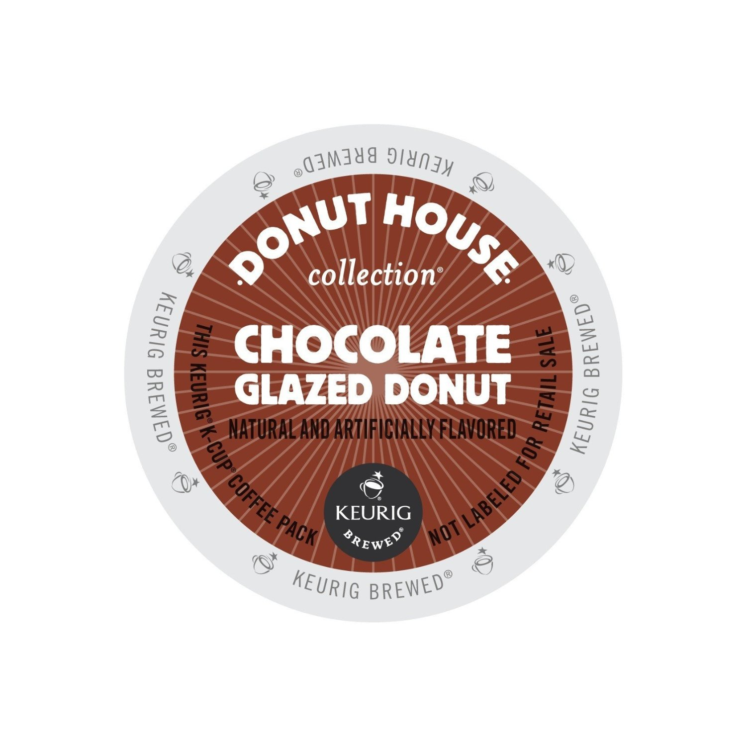Donut House Collection Coffee  Chocolate Glazed Donut Pack of 48 K Cups