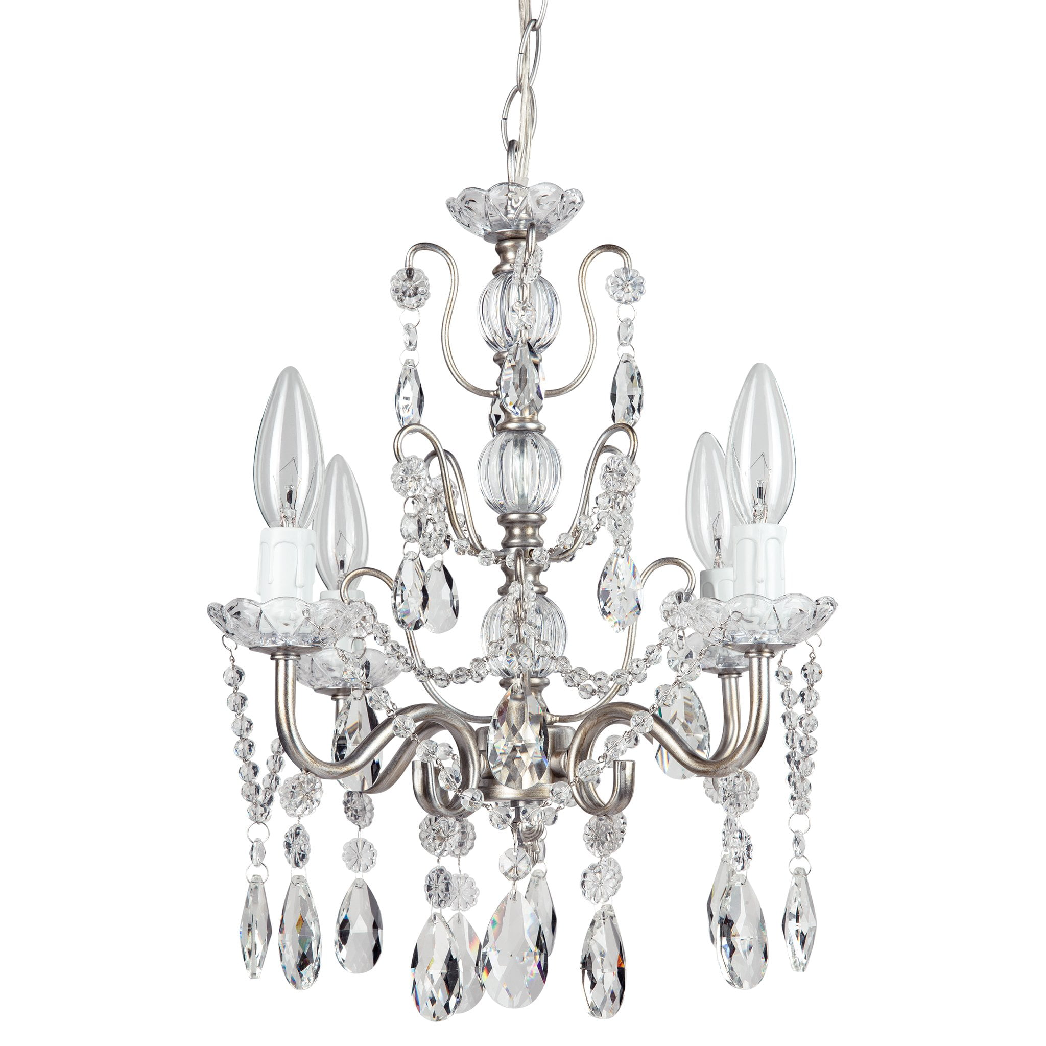 Amalfi Decor 4 Light Shabby Chic Crystal Plug-In Chandelier (Gold) | Wrought Iron Frame with Glass Crystals by